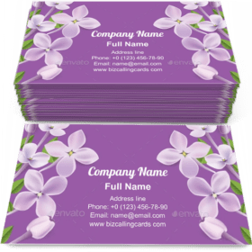 Purple Lilac flowers border Business Card Template