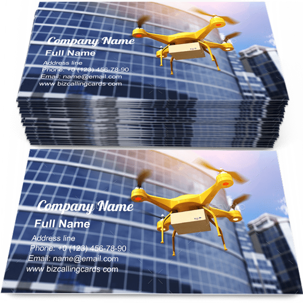 Sample of Quadrocopter carrying a parcell business card design for advertisements marketing ideas and promote innovation delivery branding identity