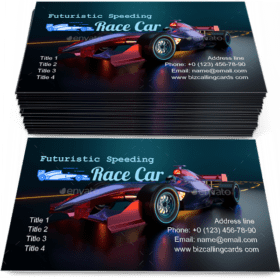 Race Car speeding Business Card Template