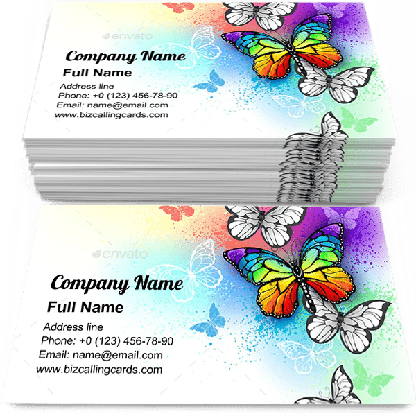 Sample of Rainbow Butterfly calling card design for advertisements marketing ideas and promote spectrum branding identity
