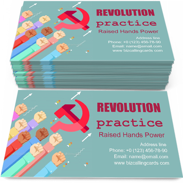 Sample of Raised Hands Power calling card design for advertisements marketing ideas and promote revolt practice branding identity
