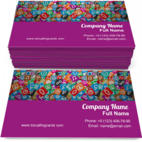 Random Multicolored Web Icons Business Card Template