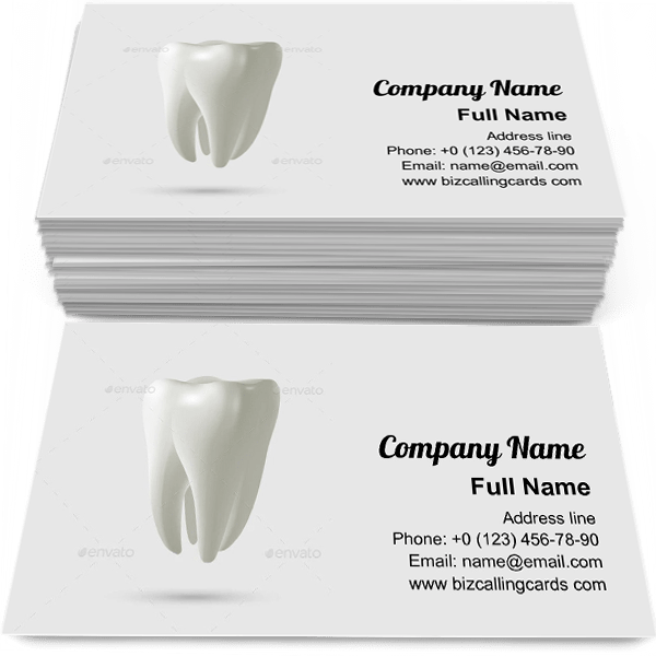 Sample of Realistic tooth isolated business card design for advertisements marketing ideas and promote Toothache branding identity