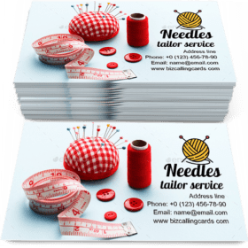 Red pillow with needles Business Card Template