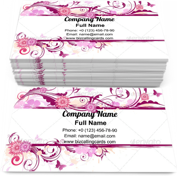Red flowers and ornament Business Card Template