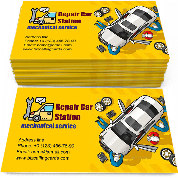 Sample of Repair Car Station calling card design for advertisements marketing ideas and promote mechanical branding identity