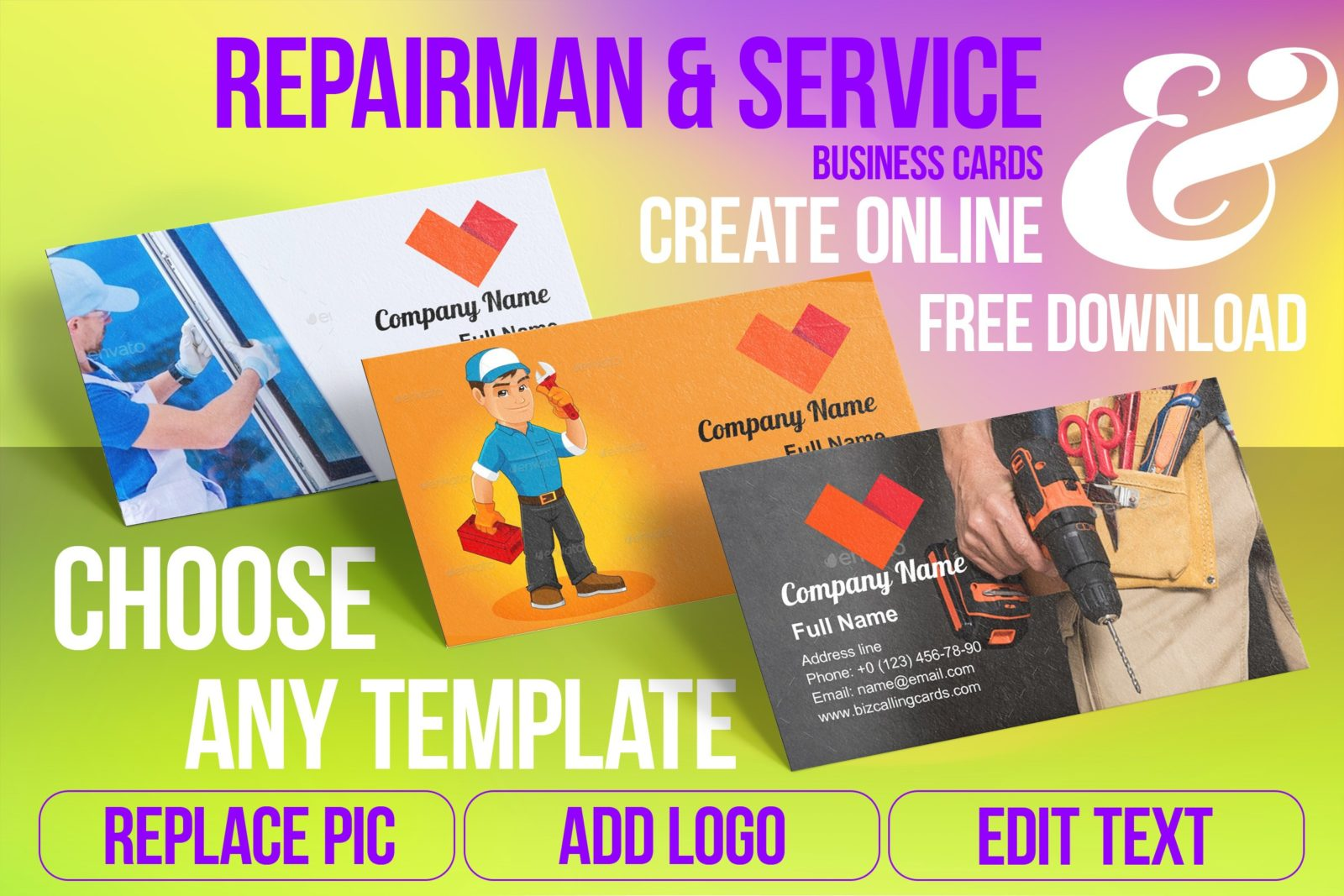 Business Card Templates For Repairman & Service Free Download