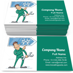 Repairman with Workshop Sign Business Card Template