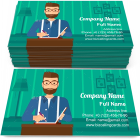Reporter with Writing Pad Business Card Template