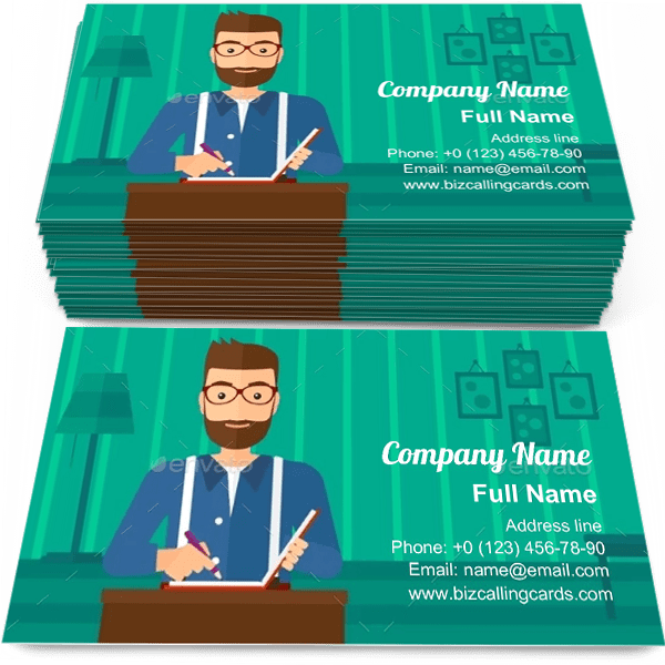 Sample of Reporter with Writing Pad calling card design for advertisements marketing ideas and promote reporter branding identity