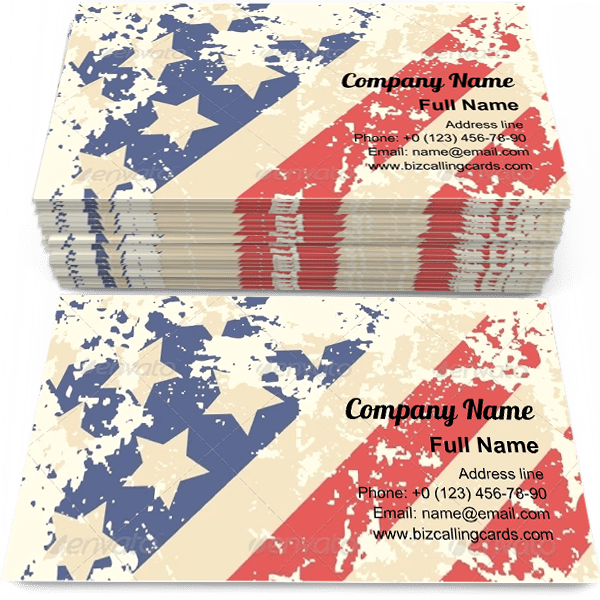Sample of Retro American Flag business card design for advertisements marketing ideas and promote Patriotic branding identity