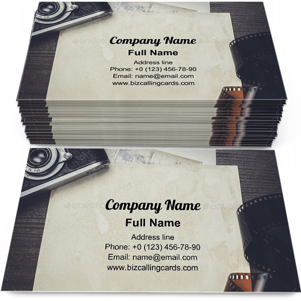 Sample of Retro camera & old photos business card design for advertisements marketing ideas and promote photography branding identity