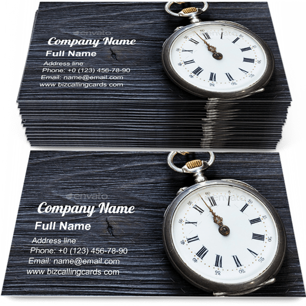 Sample of Retro pocket watch business card design for advertisements marketing ideas and promote mechanical watch branding identity