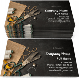 Retro sewing accessories Business Card Template