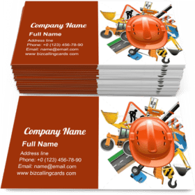 Road Construction with Helmet Business Card Template