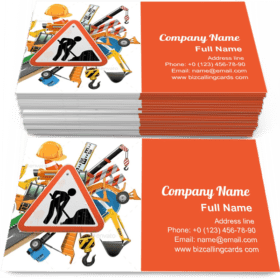 Road Construction with Sign Business Card Template