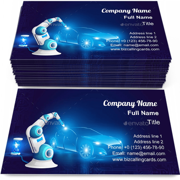Sample of Robot Arm Welding Automobile calling card design for advertisements marketing ideas and promote Artificial Intelligence Automation branding identity