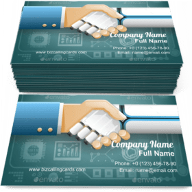 Robot Businessman Handshake Business Card Template