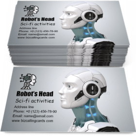 Robot's head in profile Business Card Template