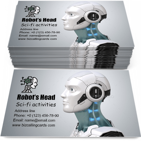 Sample of Robot's head in profile calling card design for advertisements marketing ideas and promote sci-fi activities branding identity