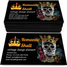 Romantic Skull with Crown Business Card Template