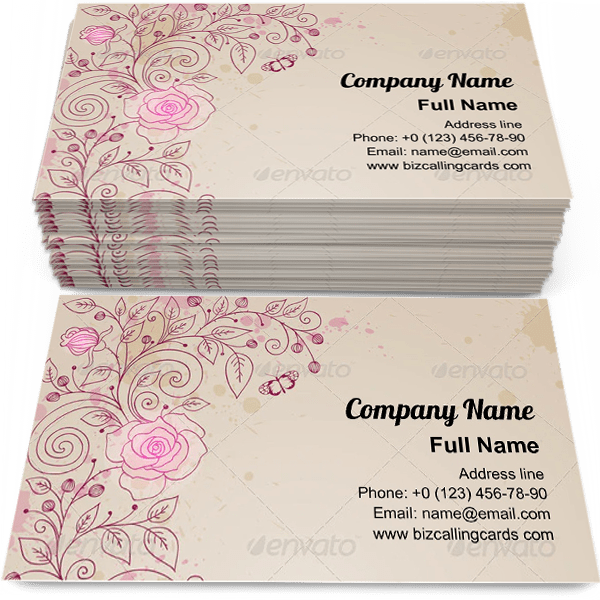 Rose and Butterflies Business Card Template