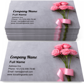 Roses with Pink Ribbon Business Card Template