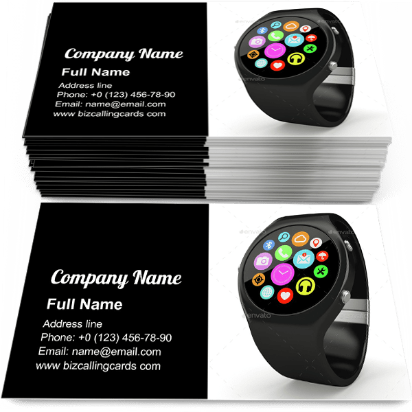 Sample of Round smart watch business card design for advertisements marketing ideas and promote gadget branding identity