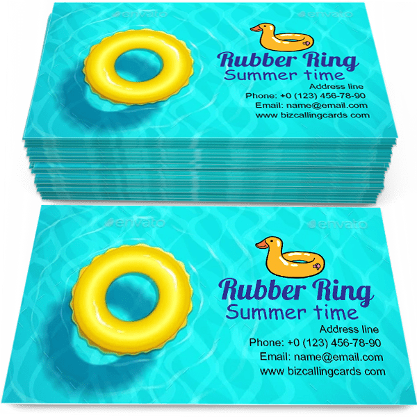 Sample of Rubber Ring calling card design for advertisements marketing ideas and promote Summer time branding identity