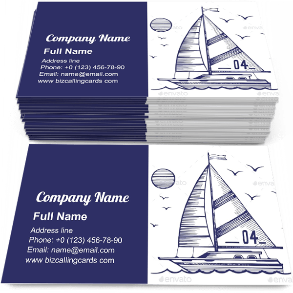 Sample of Sailing Yacht in the Sea calling card design for advertisements marketing ideas and promote yachting Sport branding identity