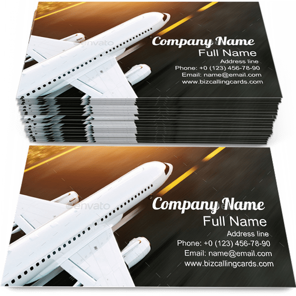 Sample of Airplane business card design for advertisements marketing ideas and promote Airport branding identity