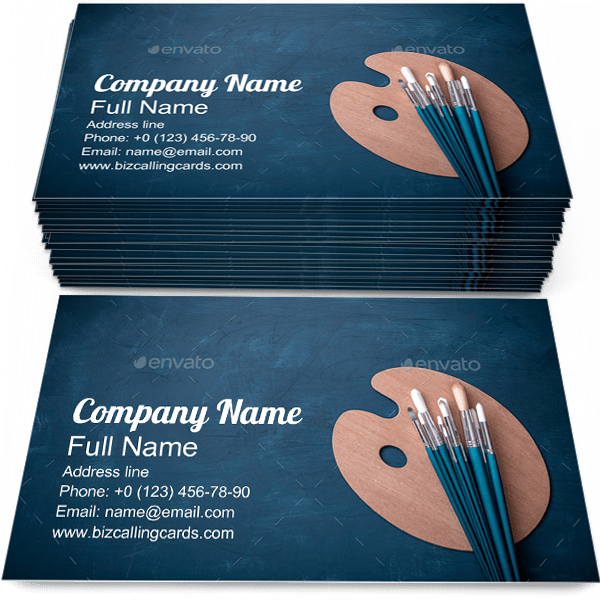 Sample of Artist paint brushes business card design for advertisements marketing ideas and promote Artistic branding identity