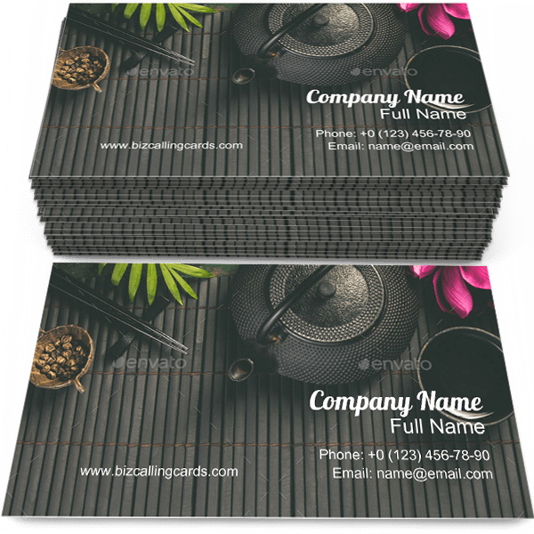 Sample of Asian Tea business card design for advertisements marketing ideas and promote tea time branding identity