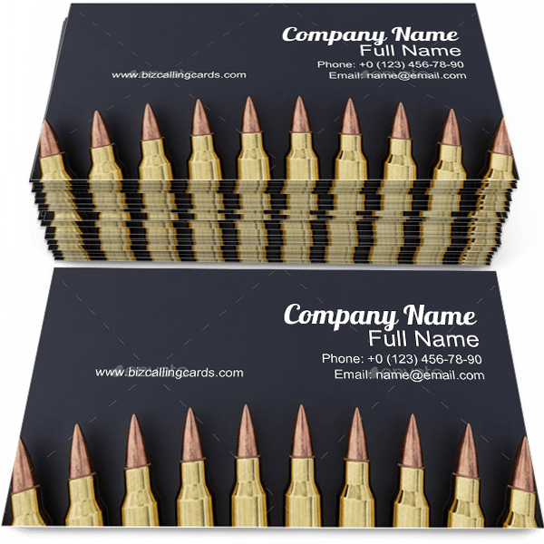 Sample of Bullet business card design for advertisements marketing ideas and promote Ammunition branding identity