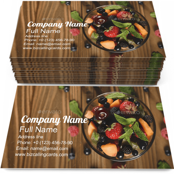 Sample of Fruits business card design for advertisements marketing ideas and promote nutrition branding identity