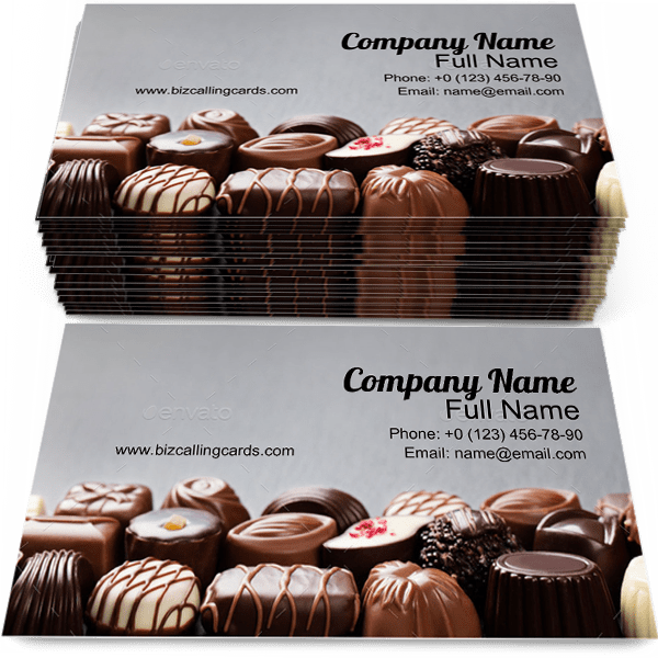 Sample of Chocolate calling card design for advertisements marketing ideas and promote confectionery branding identity