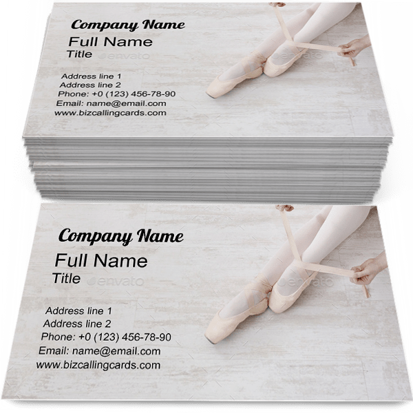 Sample of Ballerina business card design for advertisements marketing ideas and promote ballet branding identity