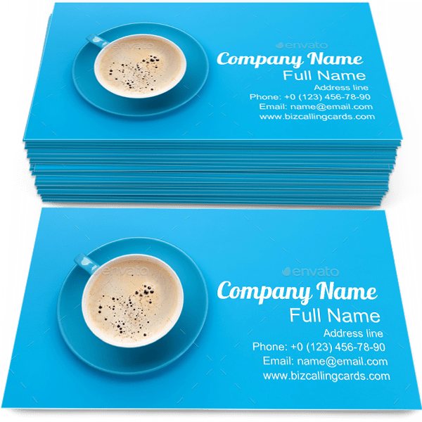 Blue Coffee Cup Business Card Template