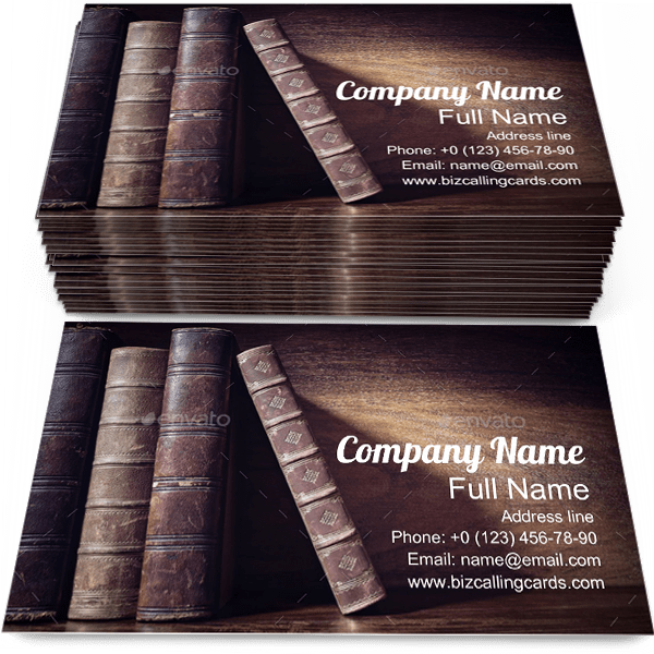 Books on a Library Shelf Business Card Template