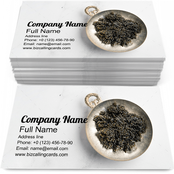 Sample of Black Caviar business card design for advertisements marketing ideas and promote delicious branding identity