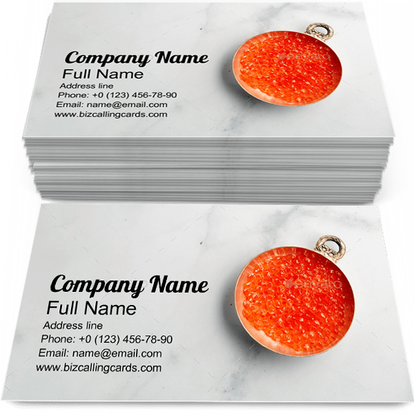 Sample of Red Caviar calling card design for advertisements marketing ideas and promote gourmet branding identity