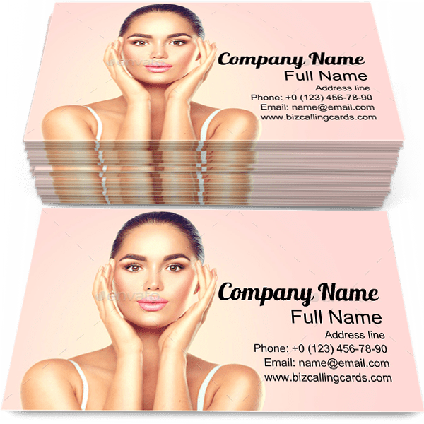 Sample of Brunette calling card design for advertisements marketing ideas and promote skincare branding identity