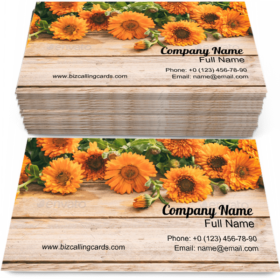 Calendula Floral on Table Business Card Template