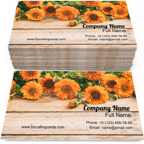 Sample of Calendula business card design for advertisements marketing ideas and promote Floral branding identity