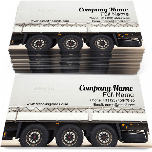 Sample of Truck Trailer business card design for advertisements marketing ideas and promote Cargo branding identity