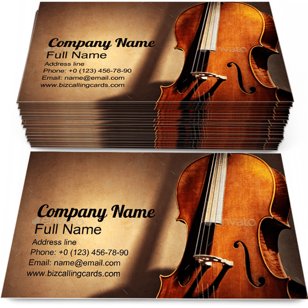 Sample of Cello calling card design for advertisements marketing ideas and promote Music Melody branding identity