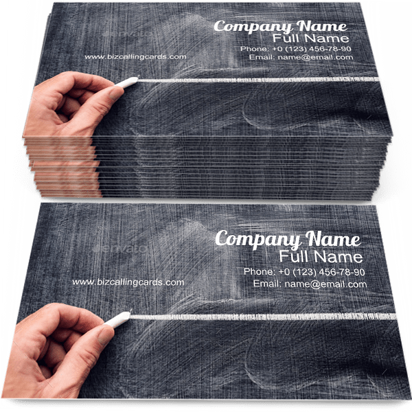Sample of Chalk calling card design for advertisements marketing ideas and promote Education branding identity