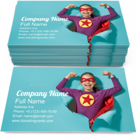Child Playing Superhero Business Card Template