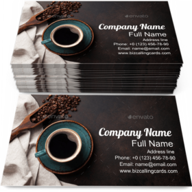 Coffee Cup and Beans Business Card Template