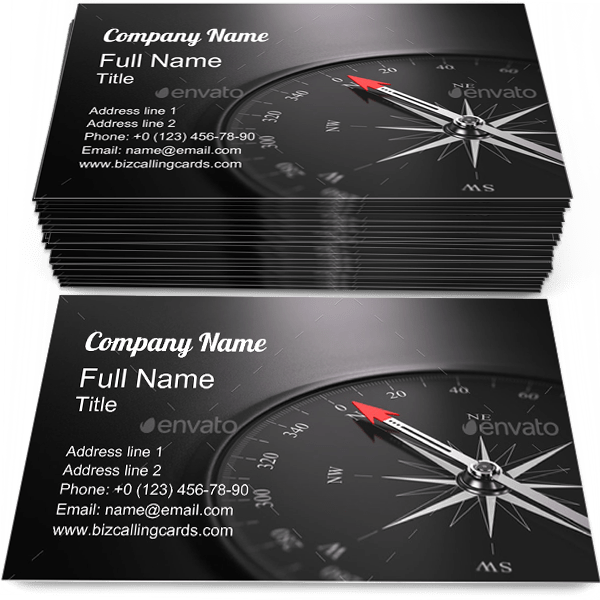 Sample of Compass business card design for advertisements marketing ideas and promote North branding identity